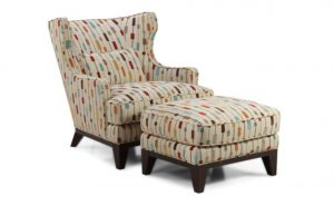 accent chair with ottoman wingback accent chair and ottoman with attractive pattern fabric also cushion