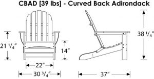 adirondack chair dimensions cbad