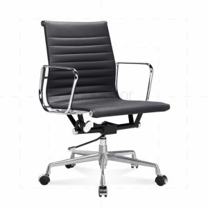 black leather office chair eames office chair low back ribbed black leather main x
