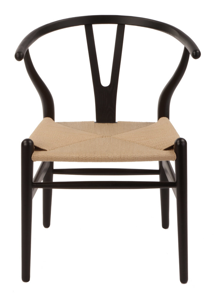 black wishbone chair