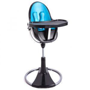 bloom high chair col black bermudablue booster sq
