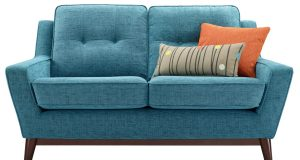 blue patterned chair contemporary blue cheap small sofa design orange pillow
