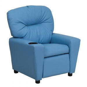 blue reclining chair flash furniture contemporary light blue vinyl kids recliner with cup holder l