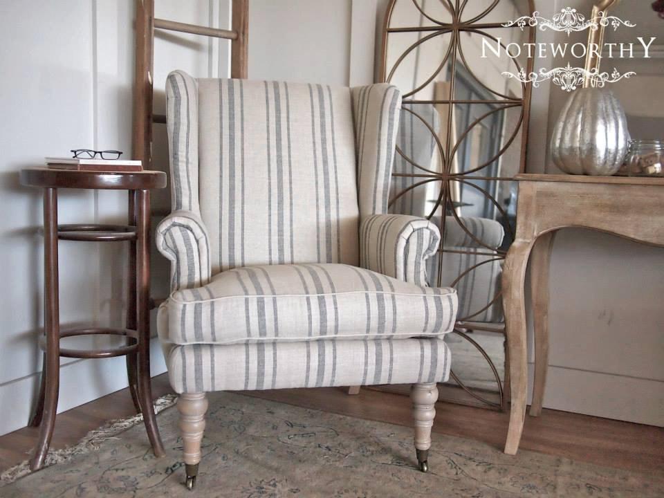blue striped chair
