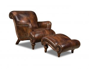 brown leather chair and ottoman acccccefcfc image x