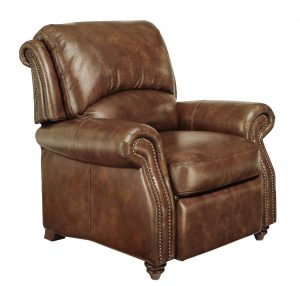 brown leather recliner chair full view exp