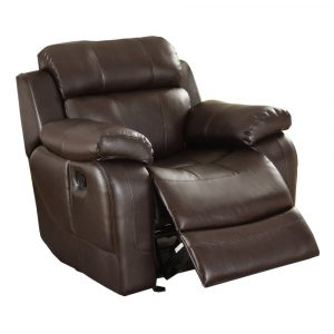 brown leather recliner chair homelegance marille rocking reclining chair in brown leather