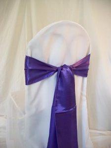 chair covers and sash purple sash