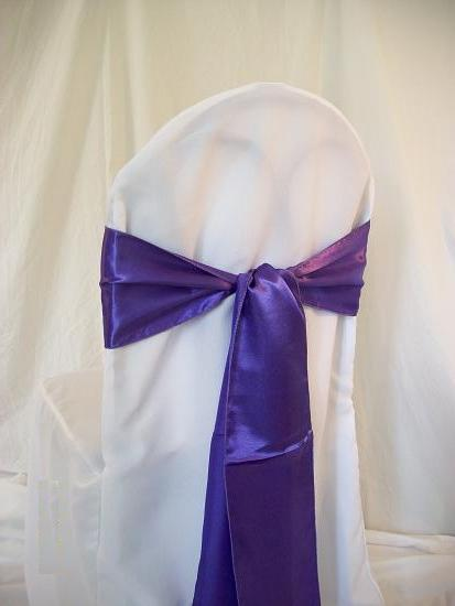 chair covers and sash purple sash
