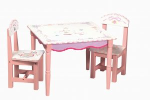 childrens wooden tables and chair sets furniture square pink stained wooden chair with white top having floral painted accent added two armless chairs childrens wooden table and chairs