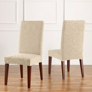 dining chair slipcover stretchjacdamaskdrcoyster