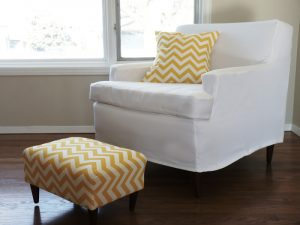 diy chair covers chevron pillow and foot stool edited