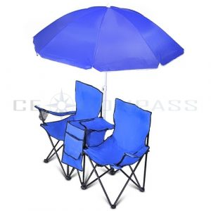 folding chair with umbrella fld char umbl blu c