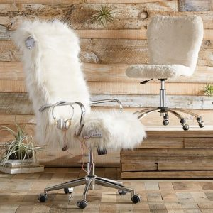 fur desk chair himalayan ivory faux fur gamer desk chair c