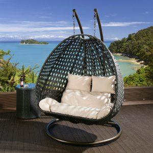 garden swing chair eggdoubleblackcreamlr