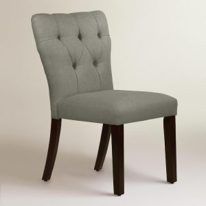 gray tufted dining chair linen tufted gabie dining gray upholstered chair