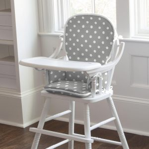 grey and white chair gray and white dots and stripes high chair pad large