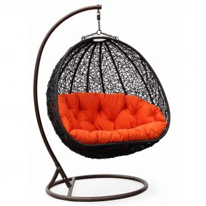 hanging swing chair two can curl up dual sitting outdoor wicker swing chair