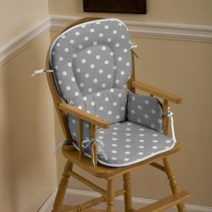 hi chair pads gray and white dots and stripes high chair pad large()
