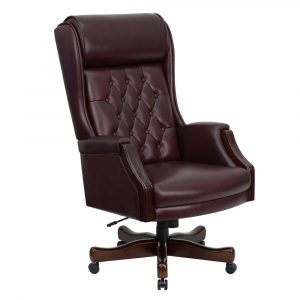 high back desk chair traditional tufted high back leather office chair