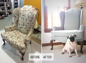 how to reupholster a wingback chair makeover wingbackchair beforeafter