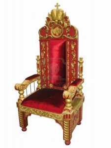 king throne chair royal king red and golden throne chair isolated over white