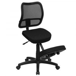 kneeling office chair black fabric back mesh ergonomic kneeling chair