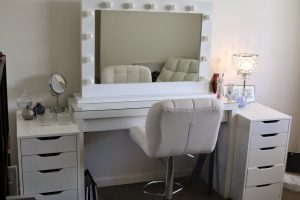makeup vanity chair white ikea makeup vanity set with lighting and leather chair