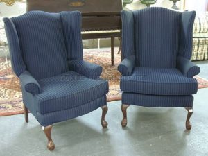 navy blue wingback chair l