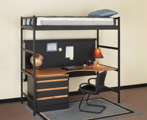 office chair rug simple and minimalist loft bed combo furniture with workstation and storage underneath a simple black chair a grey rug for floors a table lamp a laptop a globe