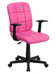 pink computer chair pink quilted vinyl mid back computer chair chair with arms