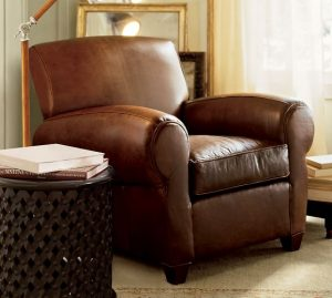 pottery barn leather chair manhattan leather armchair c