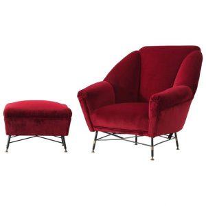 red velvet chair l