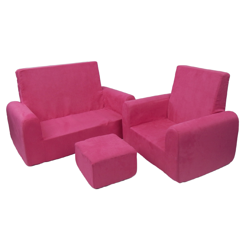 sofa and chair set toddler sofa chair and ottoman set in hot pink microsuede