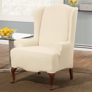 sure fit wing chair covers stretch pinstripe wing chair cream