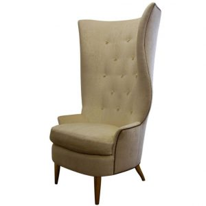tall wingback chair neutral tall button tufted wingback chair with tapered wooden legs x