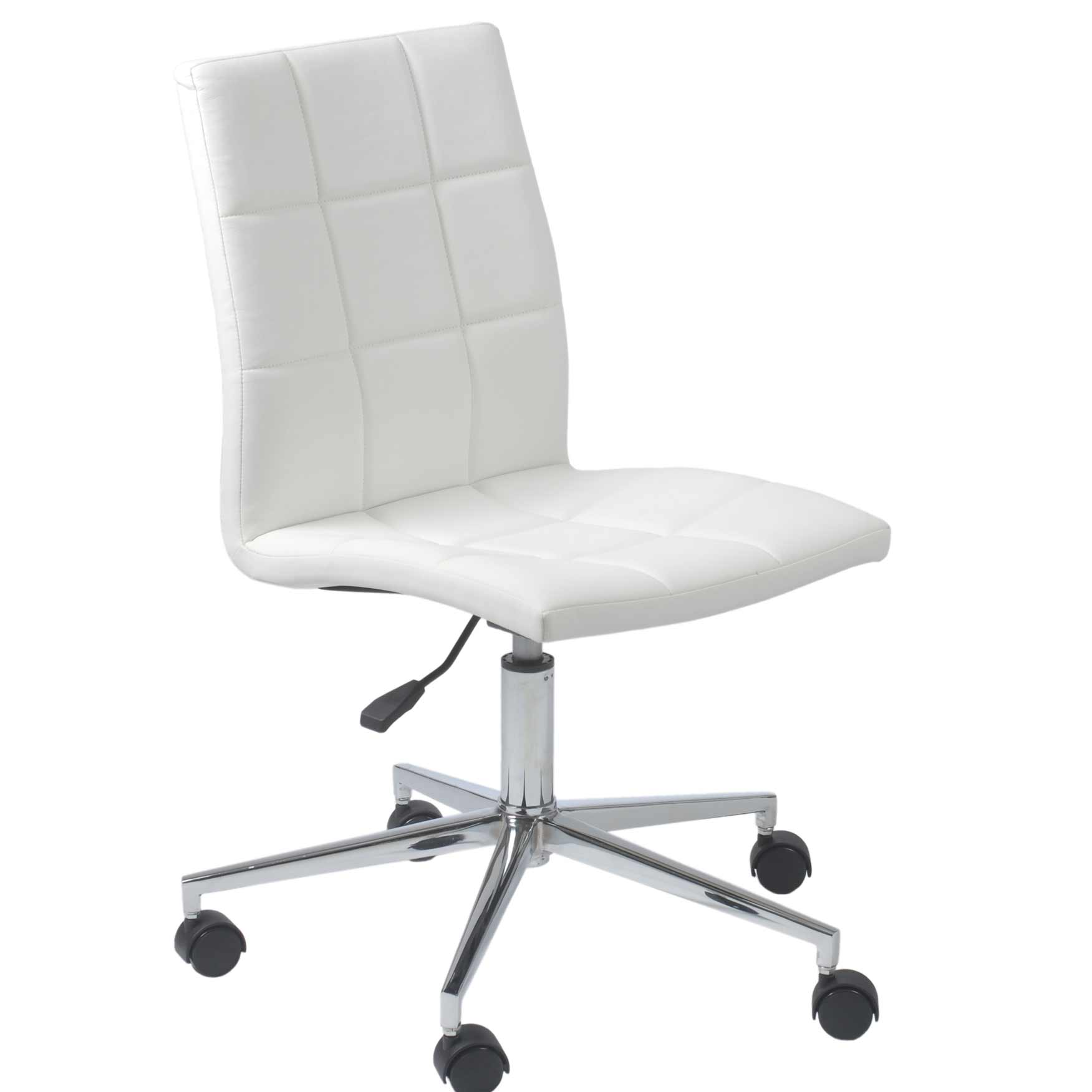 white computer chair cyd white leather modern armless office task chair
