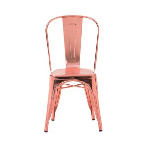 white metal dining chair rose gold custom finish tolix chair