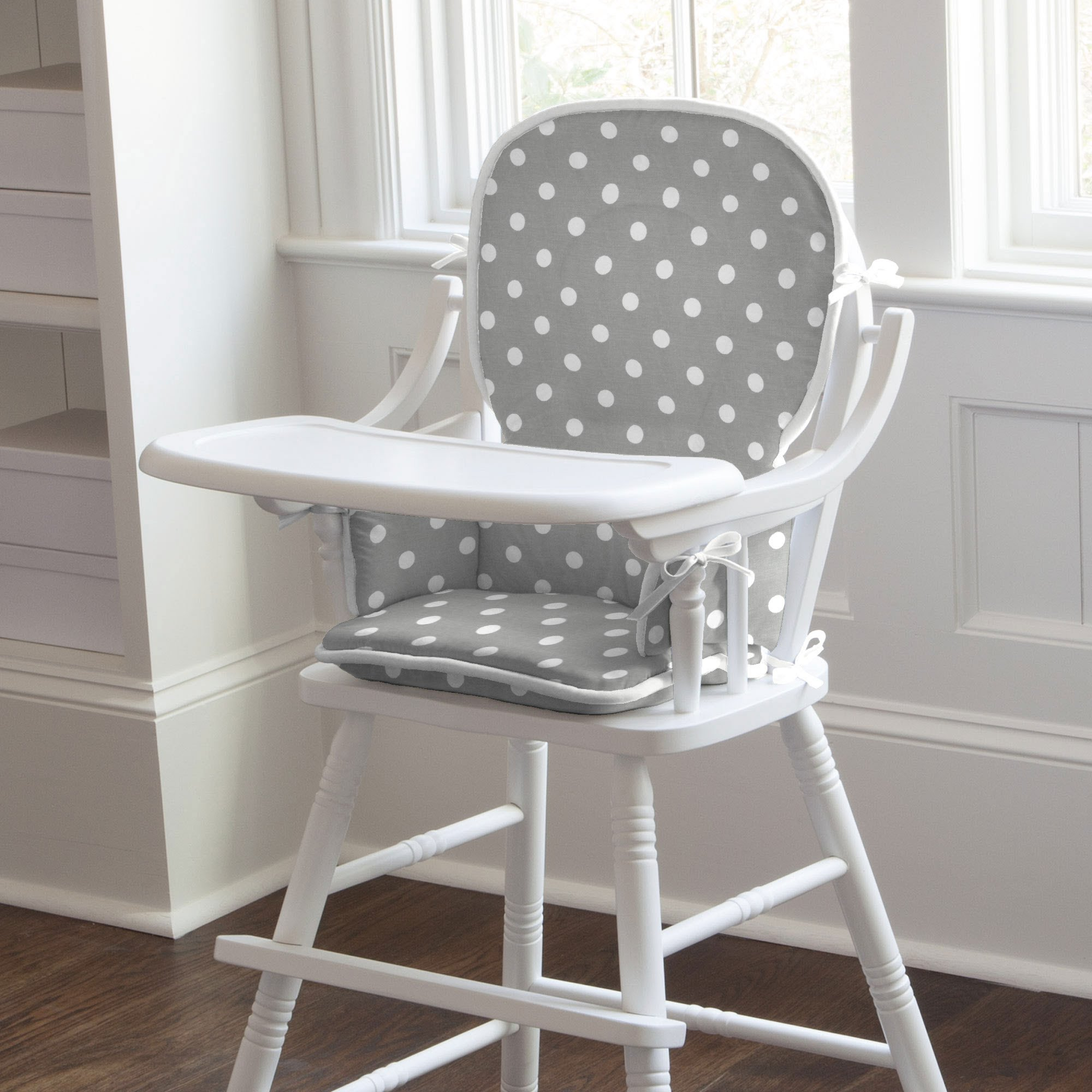white wooden high chair
