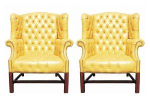 yellow wingback chair ori drexel chairs()